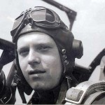 Lt. Carl Landin, US Army Air Corps, sits in the cockpit of his P51 Mustang.
